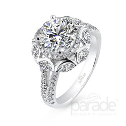 Round Cut Unique Halo Engagement Ring - Michael E. Minden Diamond Jewelers