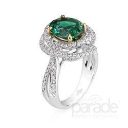 Colored Stone Double Halo Two-Tone Prong Set Engagement Ring - Michael E. Minden Diamond Jewelers