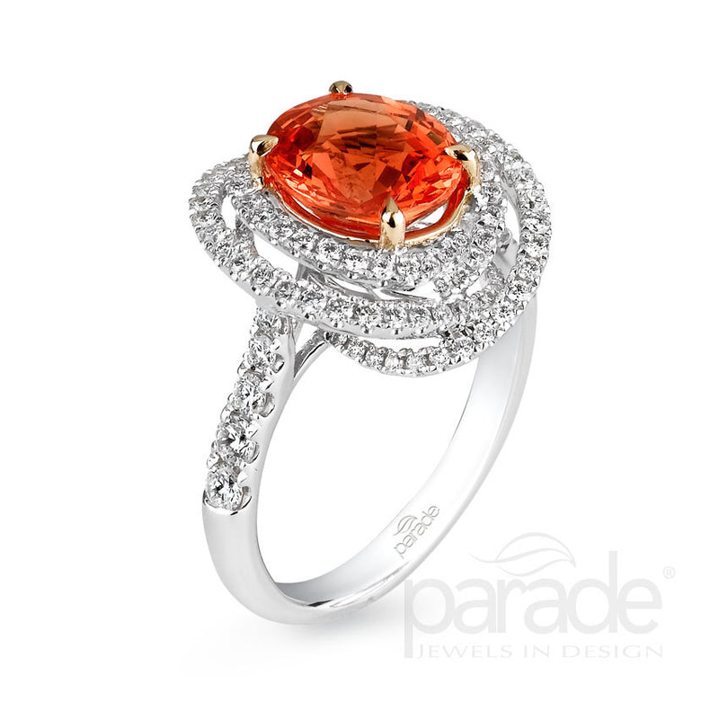 Colored Stone Overlap Double Halo Semi-Mount Engagement Ring - Michael E. Minden Diamond Jewelers