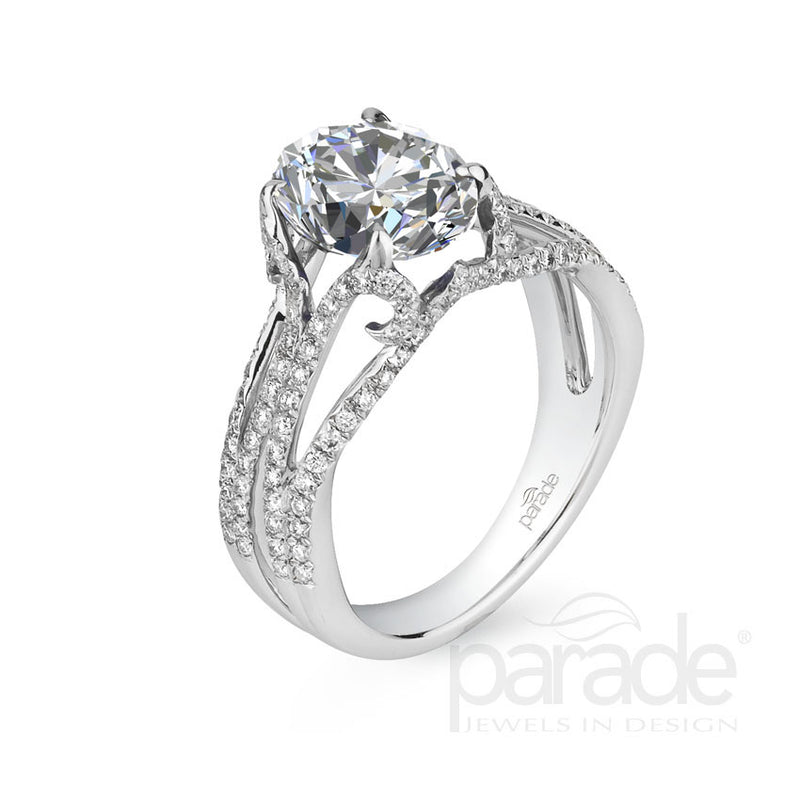 Oval Multi-Row Shank Engagement Ring - Michael E. Minden Diamond Jewelers
