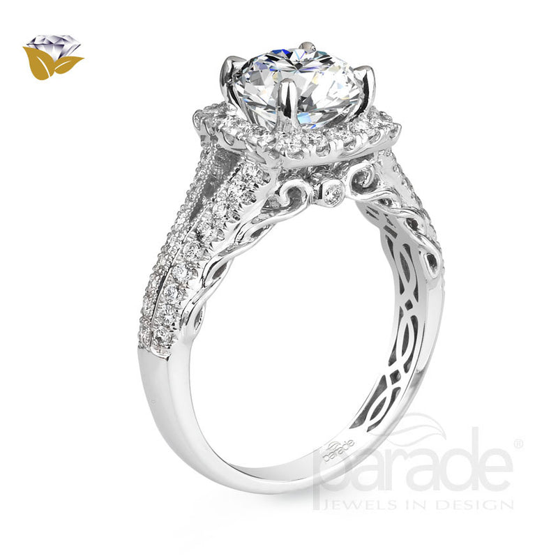 Round Square Halo Split Swirled Shank Engagement Ring - Michael E. Minden Diamond Jewelers