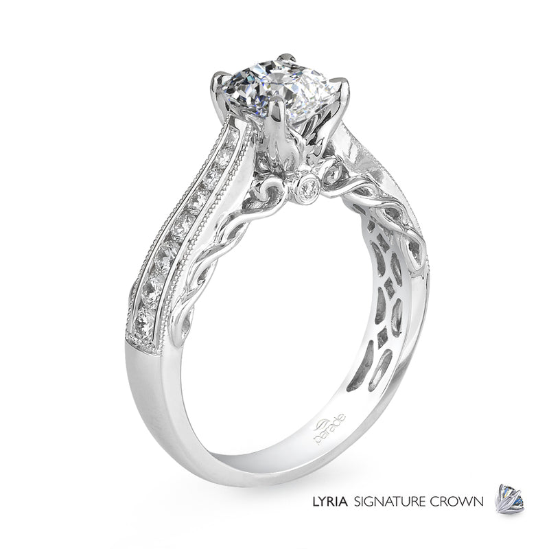 Channel Set UnderGallery Swirl Detail Engagement Ring - Michael E. Minden Diamond Jewelers