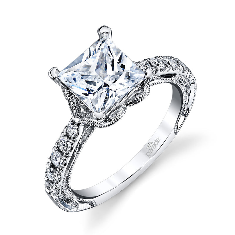 Princess Cut Milgrain Semi-Mount Engagement Ring - Michael E. Minden Diamond Jewelers