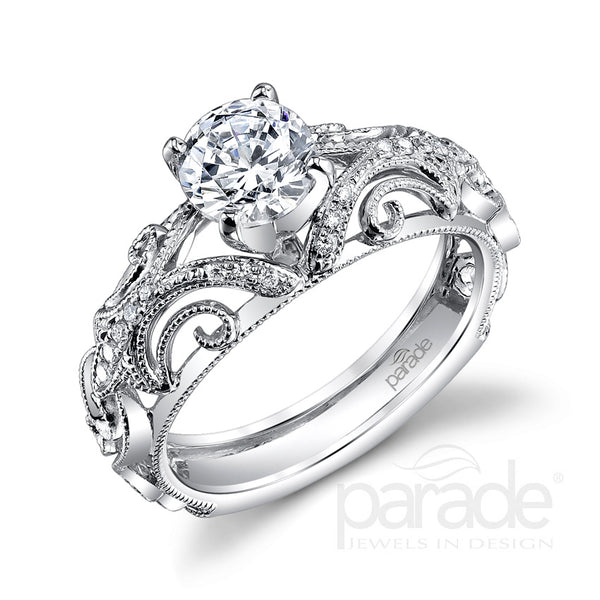 Round Cut Swirled Wide-Set Engagement Ring - Michael E. Minden Diamond Jewelers