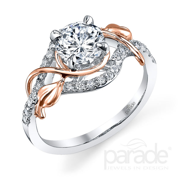 Two-Tone Leaf Wrapped Engagement Ring - Michael E. Minden Diamond Jewelers