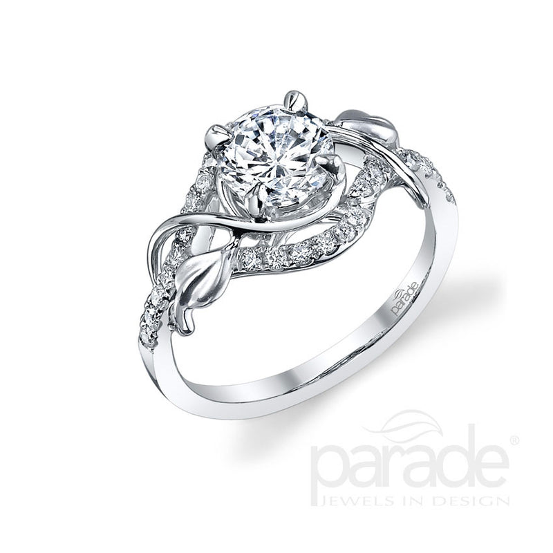 Round Cut Leaf Wrapped Engagement Ring - Michael E. Minden Diamond Jewelers