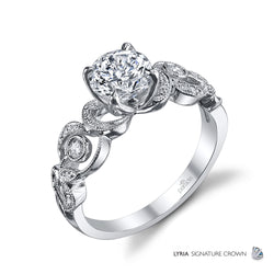 Round Cut with Swirl Detail Side Engagement Ring - Michael E. Minden Diamond Jewelers