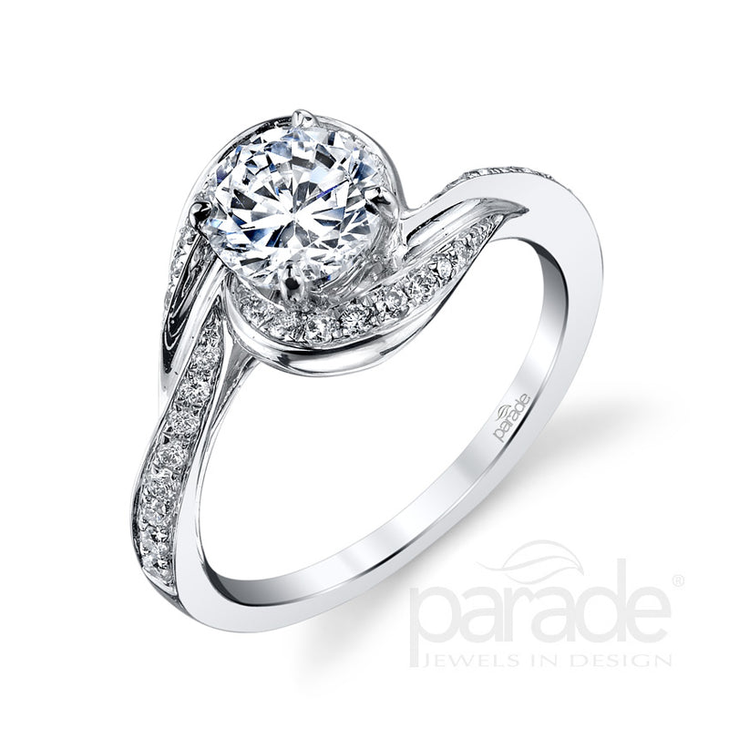 Round Wrapped Halo Detail Engagement Ring - Michael E. Minden Diamond Jewelers
