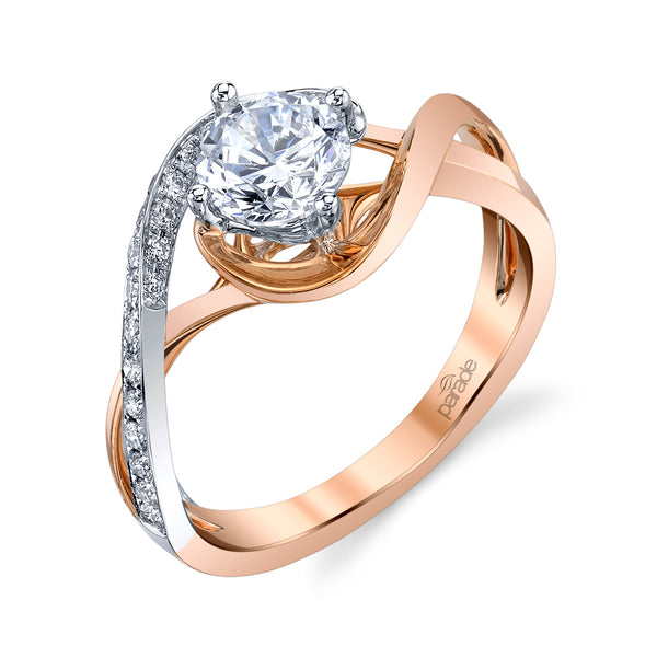Two-Tone Wide Twist Engagement Ring - Michael E. Minden Diamond Jewelers