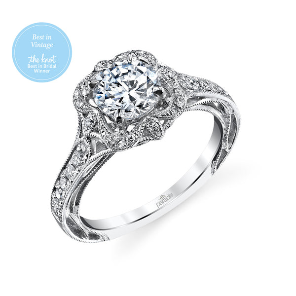 Round Floral Halo with Milgrain Detail Engagement Ring - Michael E. Minden Diamond Jewelers