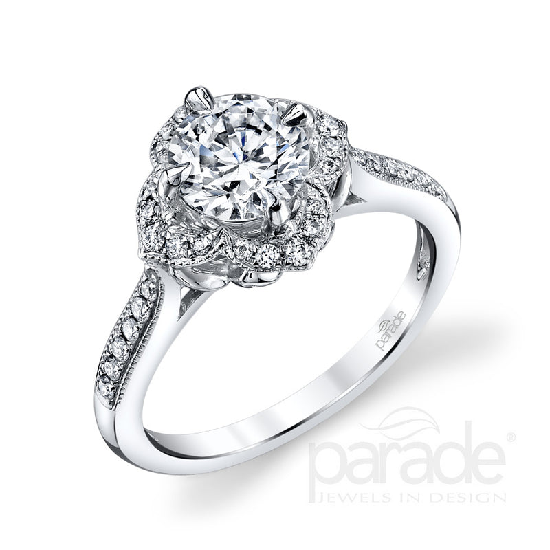 Dimensional Halo with Milgrain Detail Engagement Ring - Michael E. Minden Diamond Jewelers