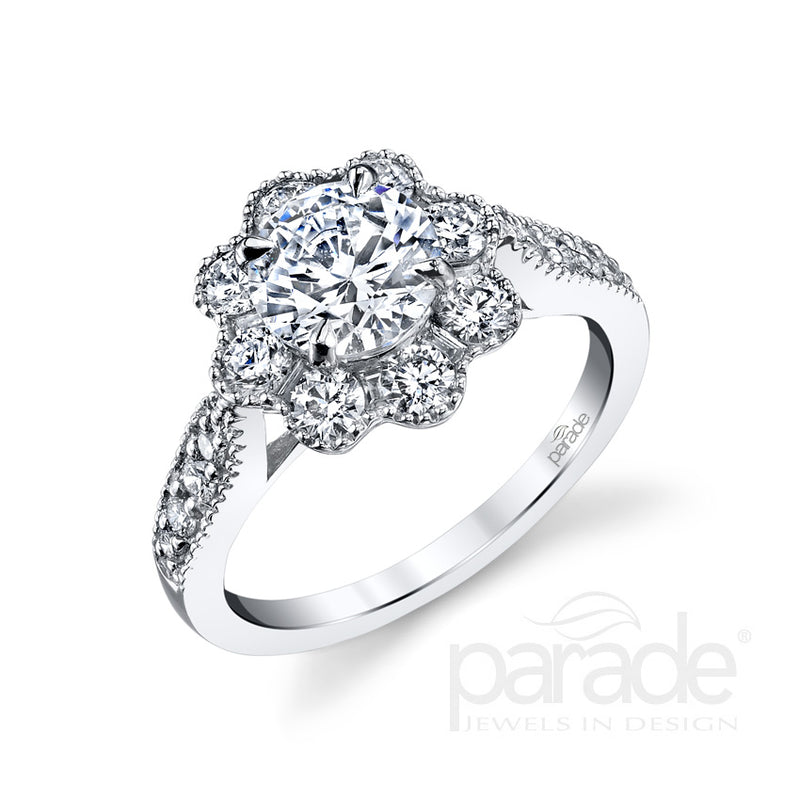 Round Cut Blooming Halo Engagement Ring - Michael E. Minden Diamond Jewelers