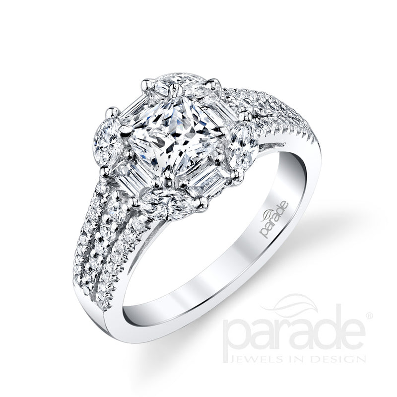 Unique Multi-Shape Halo Engagement Ring - Michael E. Minden Diamond Jewelers