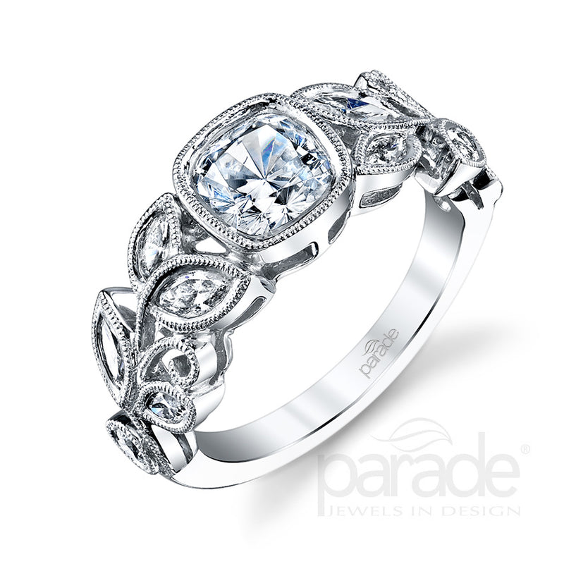 Bezel Set Milgrain Detail Engagement Ring - Michael E. Minden Diamond Jewelers