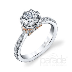 Round Two-Tone UnderGallery Engagement Ring - Michael E. Minden Diamond Jewelers