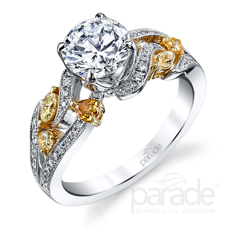 Round Cut Twisted Colored Stone Detail Engagement Ring - Michael E. Minden Diamond Jewelers