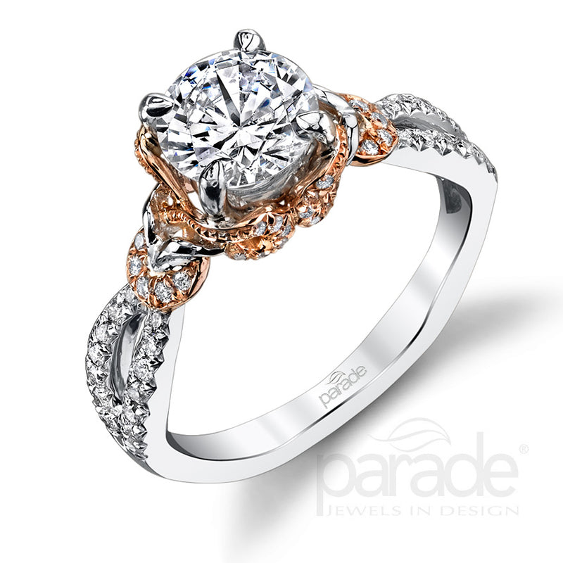 Two-Tone Twisted Set Engagement Ring - Michael E. Minden Diamond Jewelers