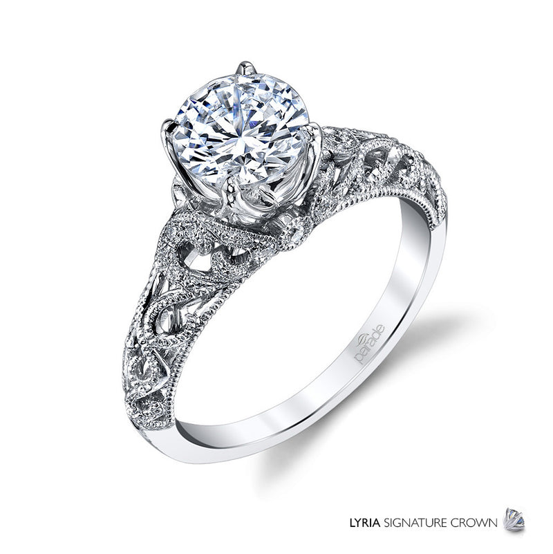 Lyria Wide-Set Intricate Detail Engagement Ring - Michael E. Minden Diamond Jewelers