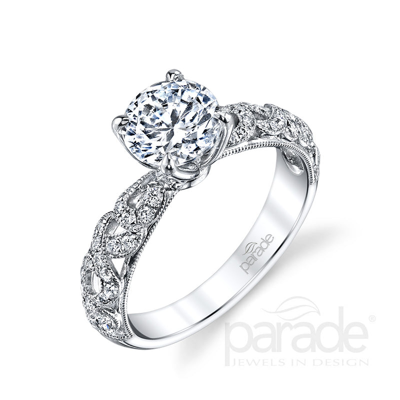 Round Cut Wide-Set Side Detail Engagement Ring - Michael E. Minden Diamond Jewelers