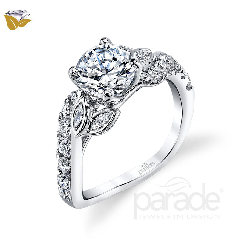 Nature Inspired Leaf Swirl Engagement Ring - Michael E. Minden Diamond Jewelers