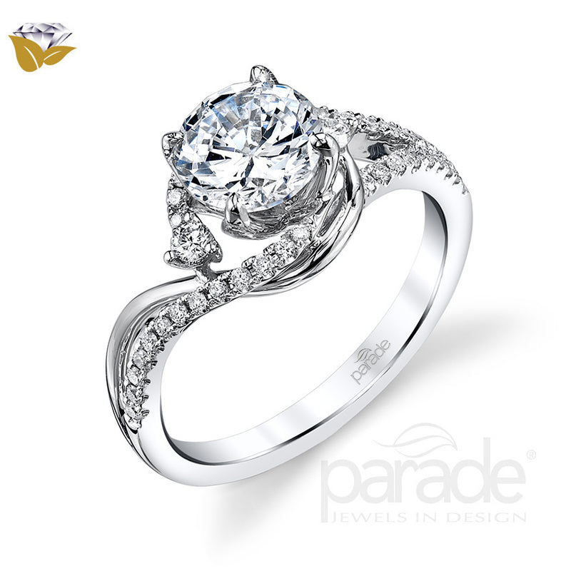 Round Cut Bypass Halo Engagement Ring - Michael E. Minden Diamond Jewelers