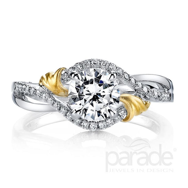 Unique Halo Two-Tone Engagement Ring - Michael E. Minden Diamond Jewelers