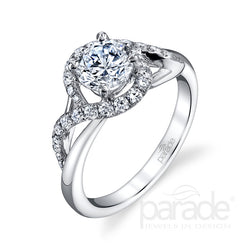 Open Wrapped Halo Engagement Ring - Michael E. Minden Diamond Jewelers