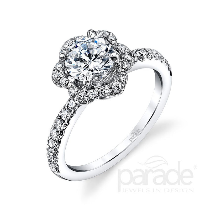 Floral Halo Engagement Ring - Michael E. Minden Diamond Jewelers