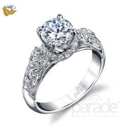 Round Cut Unique Wide Shank Engagement Ring - Michael E. Minden Diamond Jewelers