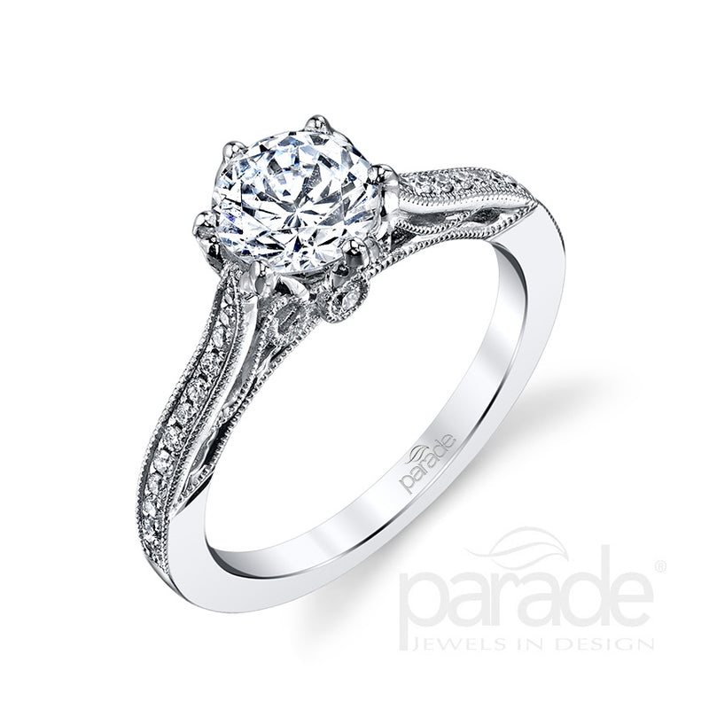 Round Cut Intricate Milgrain Detail Engagement Ring - Michael E. Minden Diamond Jewelers