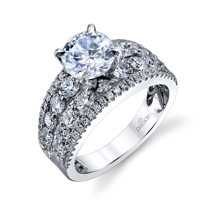 Round Cut Wide Row Engagement Ring - Michael E. Minden Diamond Jewelers