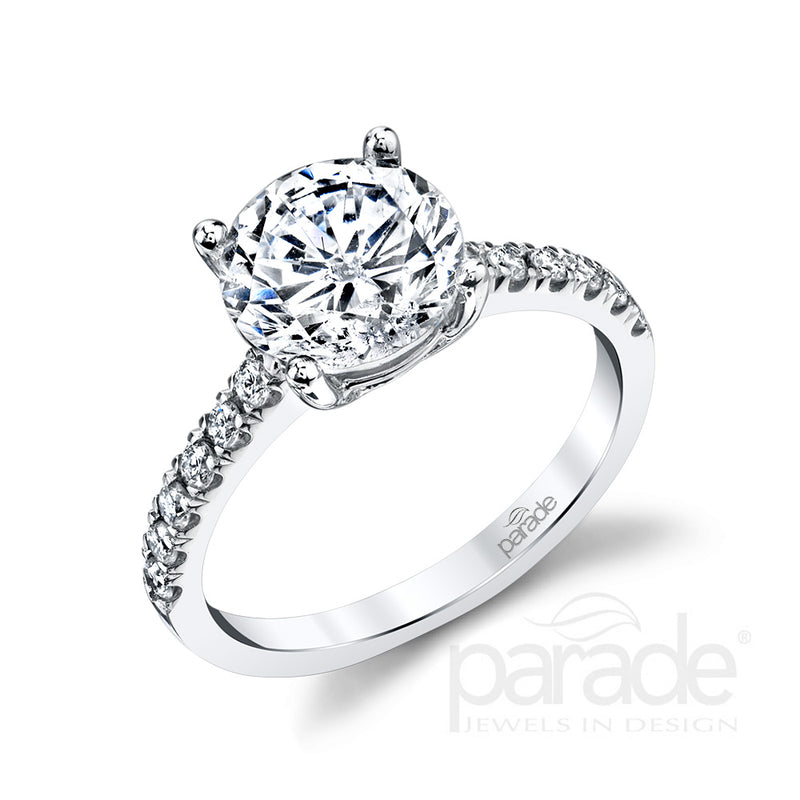 Classic Round Diamond Detail Engagement Ring - Michael E. Minden Diamond Jewelers