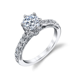 Round Milgrain Detail Engagement Ring - Michael E. Minden Diamond Jewelers