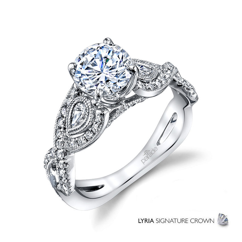 Lyria Twisted Intricate Detail Engagement Ring - Michael E. Minden Diamond Jewelers