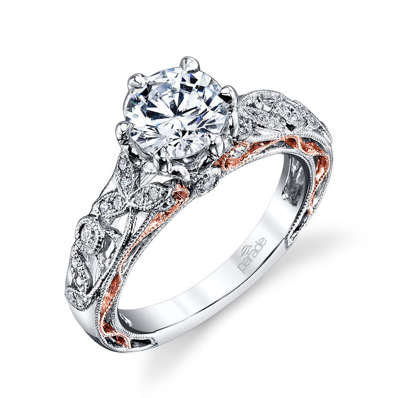 Round Vine Milgrain Engagement Ring - Michael E. Minden Diamond Jewelers
