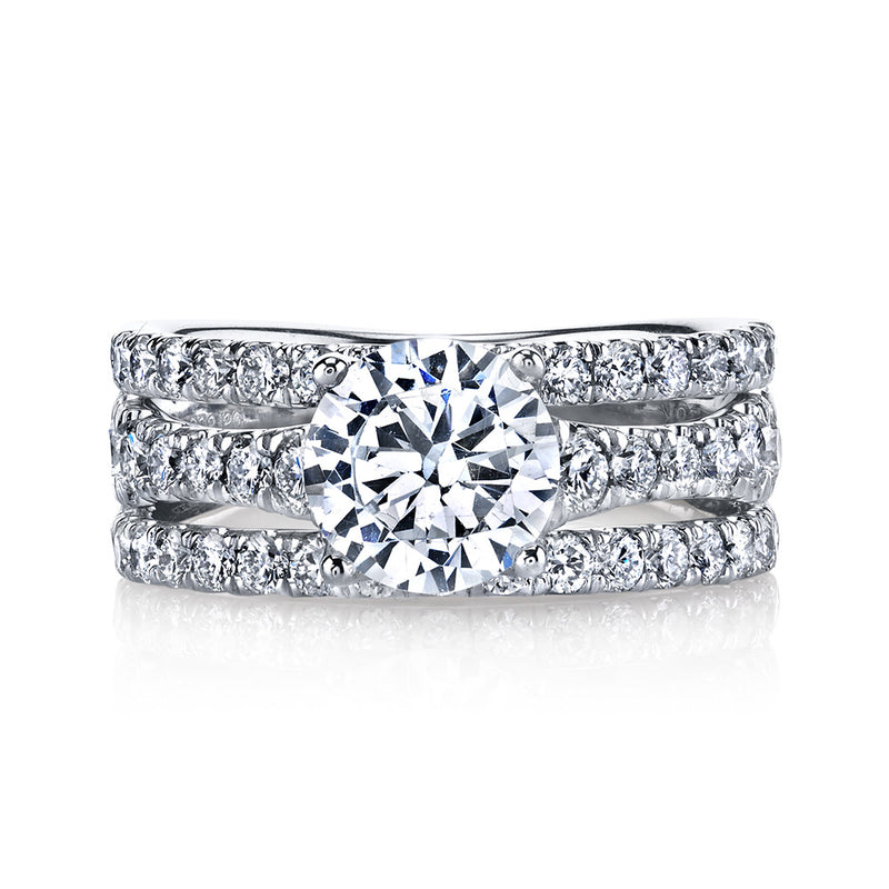Round Cut Triple Band Engagement Ring - Michael E. Minden Diamond Jewelers