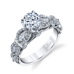 Round and Marquise Scalloped Engagement Ring - Michael E. Minden Diamond Jewelers