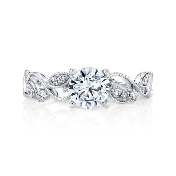 Diamond Lyria Leaves Engagement Ring - Michael E. Minden Diamond Jewelers