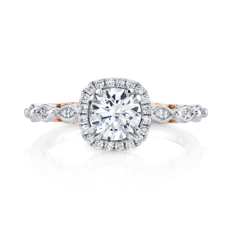 Round Halo Two-Tone Engagement Ring - Michael E. Minden Diamond Jewelers