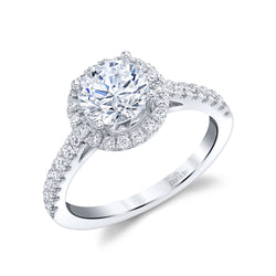 Classic Halo Engagement Ring - Michael E. Minden Diamond Jewelers