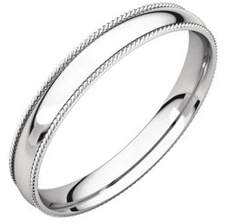 Classic Style Wedding Ring with Rope Edge Detail - Michael E. Minden Diamond Jewelers