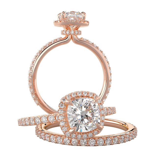 Rose Gold Cushion Halo Wedding Set with Hidden Under Halo - Michael E. Minden Diamond Jewelers