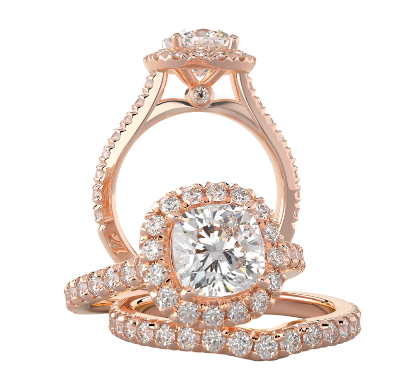 Rose Gold Cushion Halo Wedding Ring Set - Michael E. Minden Diamond Jewelers