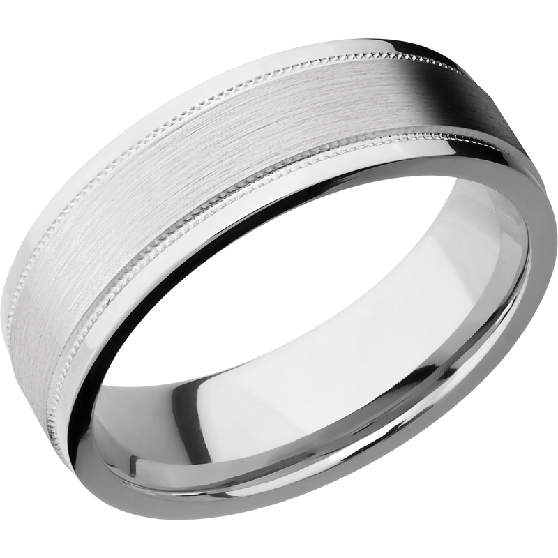 Comfort Fit Milgrain Men's Wedding Ring with Satin Inlay - Michael E. Minden Diamond Jewelers