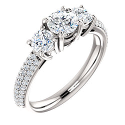 Three-Stone Pave Engagement Ring - Michael E. Minden Diamond Jewelers
