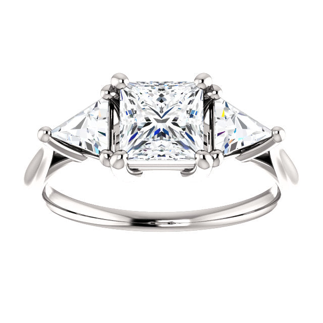 Square & Triangle Three-Stone Engagement Ring - Michael E. Minden Diamond Jewelers