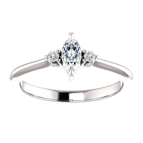 Marquise Three-Stone Engagement Ring - Michael E. Minden Diamond Jewelers