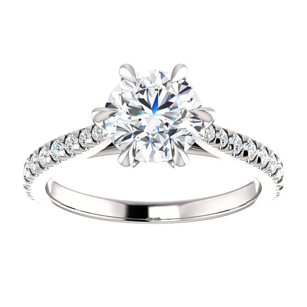 French Set Round Shape Engagement Ring - Michael E. Minden Diamond Jewelers