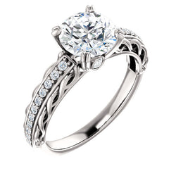 Round Twisted Diamond Detailed Engagement Ring - Michael E. Minden Diamond Jewelers