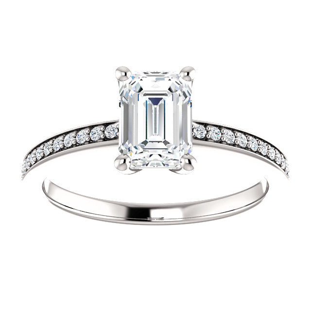 Emerald Accented Engagement Ring - Michael E. Minden Diamond Jewelers